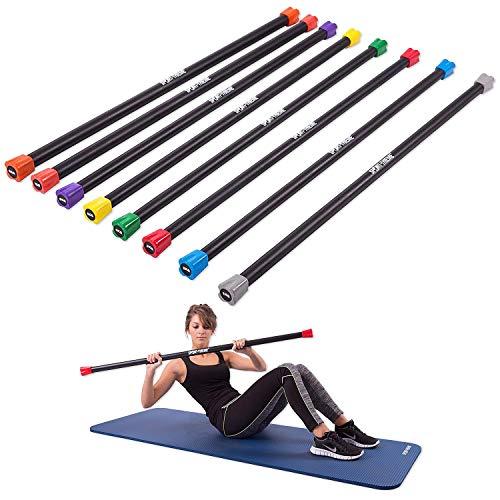 Sport-Thieme Gewichtsstange für Aerobic, Fitness, Therapie | 1-8 kg Weighted Bars, Hantelstange mit Zusatzgewichten | Stahl mit Kautschuk-Oberfläche | Länge: 122 cm, ø 30-37 mm