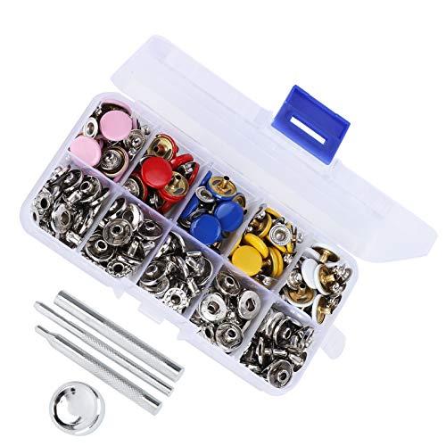 Sujetador de botones a presión, broche de punta de metal para ropa, ropa para niños, baberos, pañales, telas de lana, kit de sujetadores a presión