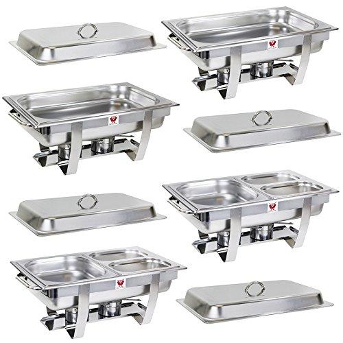 Beeketal 4er Chafing Dish Set 'BCD-4' Profi Gastro Speisewärmer Set aus Edelstahl - Lieferumfang: 4x Grundgestell, 4x Wasserbecken, 4x Deckel, 8x Brennpaste Behälter, 8x Gastronorm Behälter