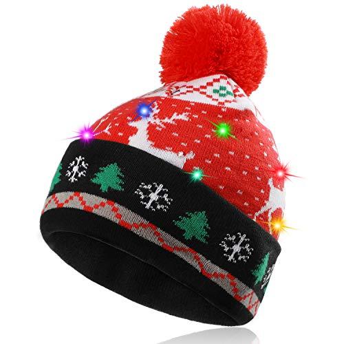 Hifot LED Leuchten Hut Mütze Stricken Helle und Bunte Xmas Christmas Weihnachten...