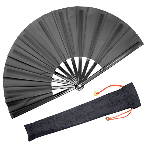 OMyTea Large Kitana Rave Clack Folding Hand Fan for Men/Women - Chinese Japanese Kung Fu Tai Chi Handheld Fan - for EDM, Music Festival, Event, Party, Dance, Performance, Decoration (Blue)
