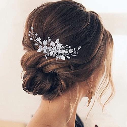 Aukmla Peineta para novia con perlas plateadas, brillantes, hojas de estrás, accesorio...