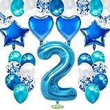 TOPHOPE Globo para 2º cumpleaños, color azul, con número 2, para decoración de cumpleaños
