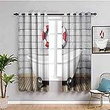 LucaSng Cortinas de Opacas - Gris Salvavidas baño bañera - 234x183 cm - para Sala Cuarto Comedor Salon Cocina Habitación - 3D Impresión Digital con Ojales Aislamiento Térmico Cortinas