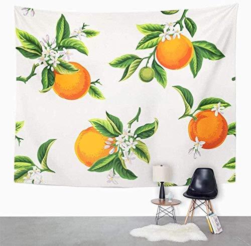 Flor verde con frutas naranjas Flores y hojas en tapiz de hoja de árbol amarillo claro Decoración para el hogar Colgante de pared para sala de estar 100x150cm