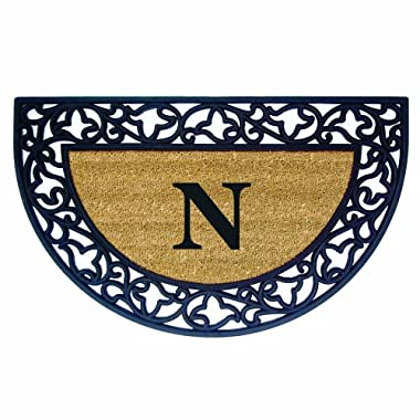 Nedia Home Acanthus Border with Half Round Rubber/Coir Doormat, 22 by 36-Inch, Monogrammed N