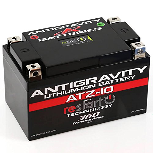 Antigravity ATZ-10-RS Lithium Ion Battery with BMS and Re-Start Technology - 360cca 2.3 Pounds 10Ah Lightweight Motorcycle Battery - Replaces YTZ10S - YTZ12 - YTZ14 - YTX9 - YTX7A-BS - YT12A-BS