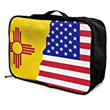 Qurbet Bolsas de Viaje, American New Mexico Flag Overnight Carry On Luggage Waterproof Fashion Travel Bag Lightweight Suitcases