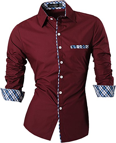 jeansian Hombre Camisa Moda Casual Button Down Slim Fit Long Sleeves Dress Shirt Tops Z020 Winered XXL