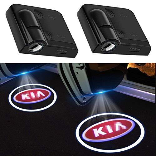 2Pcs of Car Door Lights Logo Projector, Universal Wireless Car Door Led Projector Lights, Upgraded Car Door Welcome Logo Projector Lights for All Car Models (FOR KIA BLUE)
