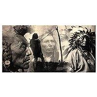 インドのテーマプリントウォールアート-イーグルフェザーハットを持つ現代ヴィンテージネイティブアメリカンインディアンチーフマン-非フレームキャンバスアートプリントポスター画像の装飾,45×90cm
