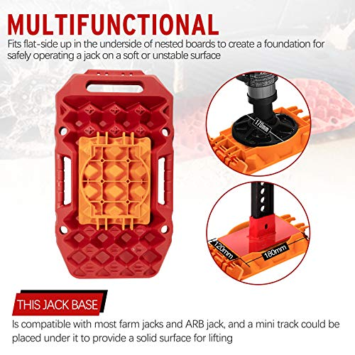 BUNKER INDUST Off-Road Traction Boards with Jack Lift Base,2 Pcs Multifunctional Recovery Tracks Traction Mat for 4X4 Mud, Sand, Snow -Red Emergency Tire Traction Ladder Tool with Carry Bag