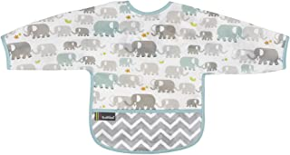 Kushies Cleanbib Waterproof Feeding Bib with Sleeves and Catch All/Crumb Catcher Pocket. Wipe Clean and Reuse! Lightweight for Comfort, Baby Boys and Girls, Unisex, 12-24 Months, White Elephants