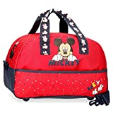 Disney Bolsa de Viaje Happy Mickey 40 cm, Color Rojo