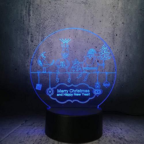 Boutiquespace Lámpara de ilusión 3D LED noche luz de papel recortado estilo Navidad regalo bombilla Los mejores regalos de Navidad para niños sueño luz decoración del hogar niños sueño lámpara