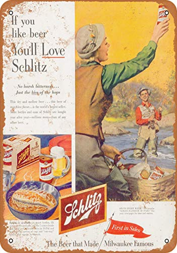AMELIA SHARPE Vintage Retro Collectible tin Sign - 1953 Schlitz Beer and Fishing -Wall Decoration 12x8 inch Poster Home bar Restaurant Garage Cafe Art Metal Sign Gift