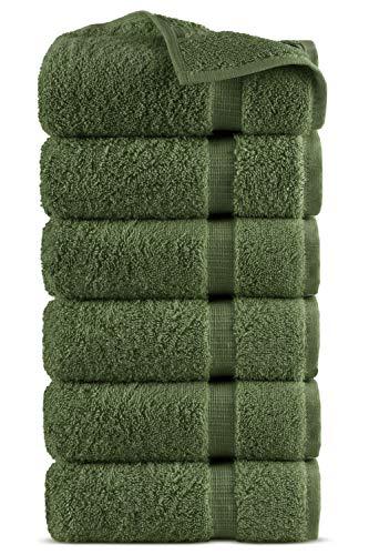 Indulge Linen 100% Turkish Cotton Towel Set (Moss, Hand Towels - Set of 6)