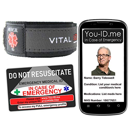 Do Not Resuscitate (DNR) Alert Bracelet Medical ID Card Options or Set. Emergency Identity Band Fast Access to Meds Contact Numbers Blood Group NHS Number SMS Alert Capable (DNR Set (2 Items))
