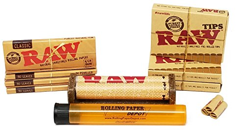 Bundle - 9 Items - Raw Unbleached Classic 1 1/4 Size Cigarette Rolling Papers (4 Packs), RAW Pre-Rolled Tips (3 Packs), RAW 79mm Cigarette Roller and Rolling Paper Depot Kewl Tube