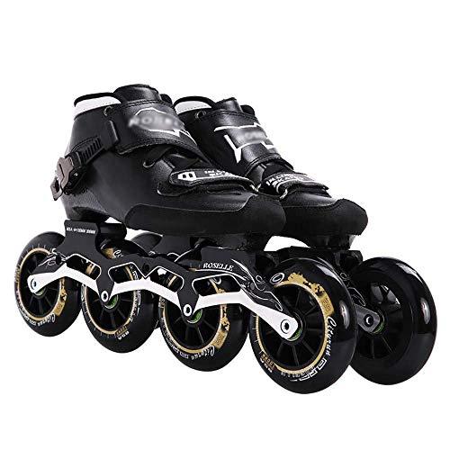 Fibra de carbono Inline Speed Patines Patines 3 4 ruedas Zapatos de carreras profesionales para la maratón de asfalto Ground Road patinaje 85A30-45, patines de ruedas en línea para niños y adultos,
