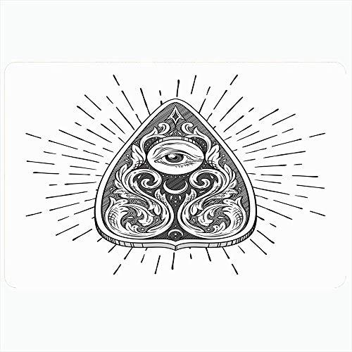 Badteppich für Badezimmer rutschfeste Matten Hand gezeichnete antike Tinte Weissagung okkulte Wicca-Brett Planchette isoliert Magie oder Vintage-Objekte Plüsch Dekor Fußmatte rutschfeste Trägermatte