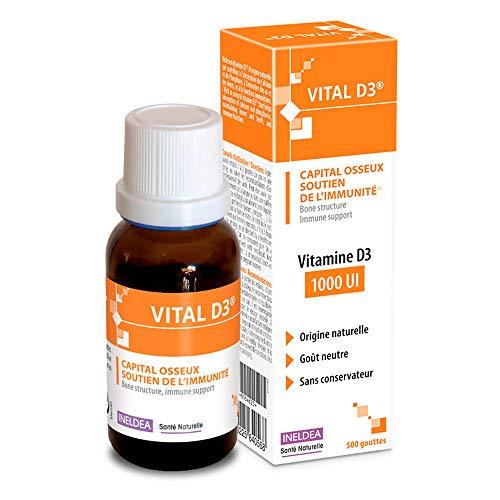 INELDEA SANTÉ NATURELLE - Vital-D3 - Complément Alimentaire en Vitamine D3 (Origine 100 % Naturelle) - Capital Osseux et Soutien de l'Immunité - Goût Neutre Flacon Compte-gouttes de 20 ml