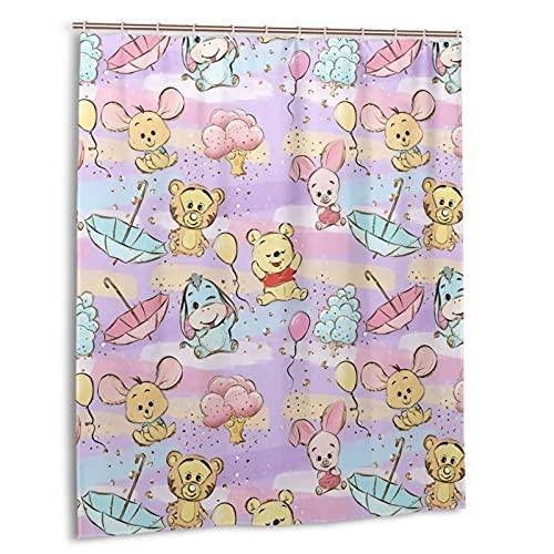 Winnie the Pooh Duschvorhang, Badezimmer Trennvorhang, starke wasserdichte Fähigkeit, 12 Haken 60 x 72 Zoll Home Creative Kunststoff
