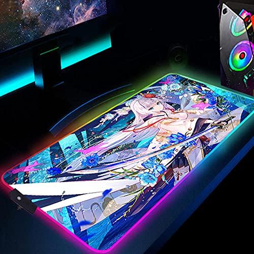 Alfombrilla de ratón Anime Girl Azur Lane Iris Libre Alfombrilla de ratón RGB Brillante Led Alfombrilla de ratón Alfombrilla de Ordenador Carrera eléctrica 11.8'x23.6'