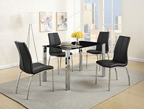 Poundex F2314 Mesa para Comedor Estilo Moderno, Color Negro y Plata