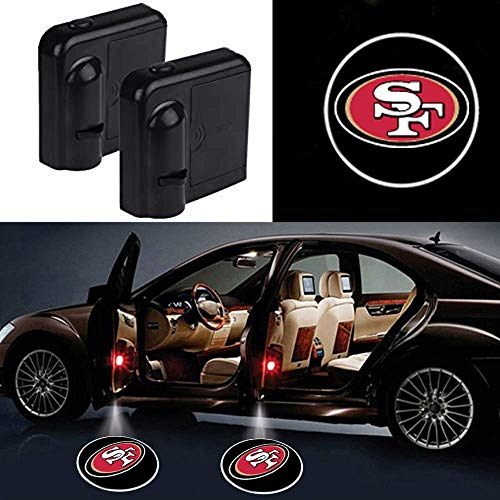 2Pcs Car Door Led Welcome Laser Projector Car Door Courtesy Light for San Francisco 49ers Suitable Fit for all brands of cars (San Francisco 49ers)