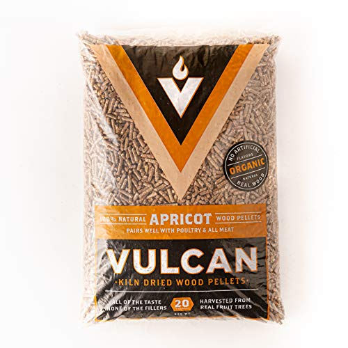 Vulcan Apricot Grilling Wood Pellets | All Natural 100% Quality Kiln Dried Food-Grade Real Hardwood | Bold Smokey Rich Flavor for Outdoor Grill BBQ Smoker Smoking Meat | Organic, No Artificial Flavors