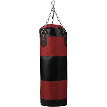 wivarra 100X30cm Empty Boxing Sand Bag Hanging Kick Training Fight Karate Punch Punching Bag with Chain Hook Carabiner