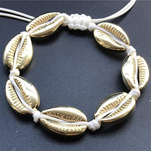 Gevlochten armband, vintage gevlochten touw, handgemaakte armband, met schelpen, parelsnoer en parelsnoer, voor mannen en vrouwen