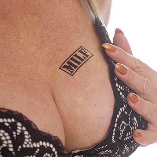 2 x Milf Stempel Tattoo - schwarzer Schriftzug klein - Sexy Kinky Fetisch Tattoo (2)