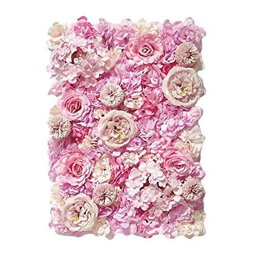 Milageto Paneles florales 24'x 16' Pantalla de pared de flores artificiales flores románticas fondo Floral decoración de boda foto fotografía Fondo decoración - Púrpura, rosa,