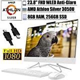 "2020 Premium HP 24 All-in-One Desktop Computer 23.8"" FHD WLED Anti-Glare Display AMD Athlon Silver 3050U Processor 8GB RAM 256GB SSD Pop-Up Webcam DVD-Writer HDMI WiFi Win 10 + iCarp HDMI"