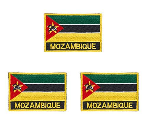 3 Stück Mosambik bestickte Flaggen-Emblem-Applikation zum Aufbügeln oder Aufnähen.