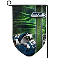 """【Premium Fabric】 """"Seattle Seahawk Wallpaper """" Garden Flag Made From 100% Polyester, The Fabric Feels Silky And Soft And You Will Fully Appreciate The Craftsmanship And Quality Of This Flag. Double Sided: """"Seattle Seahawk Wallpaper """" Garden Flag, Mini..."""