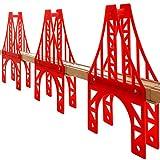 OrgMemory Eisenbahn Set, 3 Stück Hängebrücke, Holzeisenbahn Eisenbahnbrücke Kompatibel mit Anderer Marken -