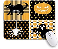 MISCERY マウスパッド ハロウィーンのテーマ黒猫パンプキンライトスパイダーゴーストグリッドスポット 高級感 おしゃれ 防水 端ステッチ 耐久性が良い 滑らかな表面 滑り止めゴム底 24cmx20cm