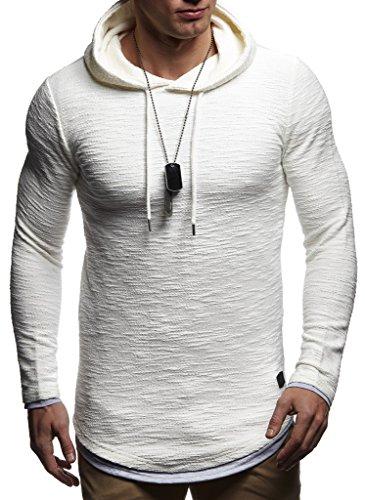 Leif Nelson Herren Kapuzenpullover Slim Fit Baumwolle-Anteil Moderner weißer Herren Hoodie-Sweatshirt-Pulli Langarm Herren schwarzer Pullover-Shirt mit Kapuze LN8120 Ecru Medium
