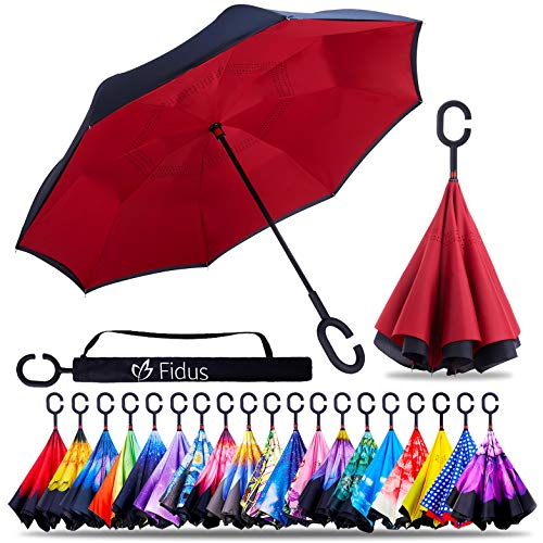 ZOTIA Double Layer Inverted Reverse Umbrella, Winproof Waterproof UV Protection Self Stand Upside Down Car Golf Outdoor Rain Umbrella with C-Shaped Handle-Wine Red
