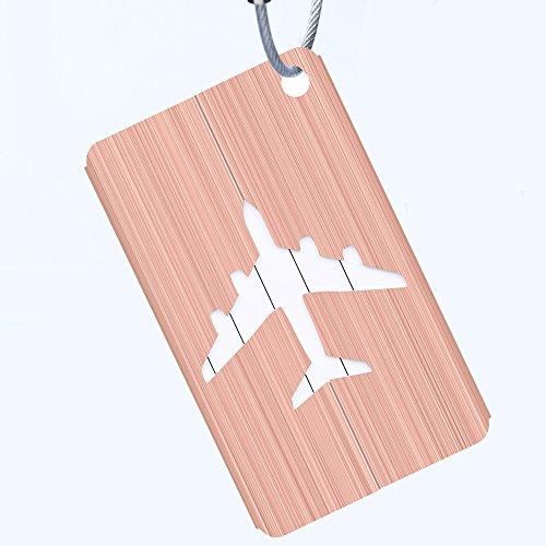 Egurs Kofferanhänger Flugzeugmuster mit Namensschild Adresse Tag Koffer Tags mit Namensschild Adressschild Gepäckanhänger aus Metall Roségold