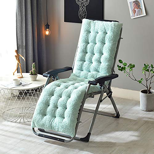 GCP Almohadilla De Silla Thicken,Lana De Cordero No-resbalón Silla Lounger Cojín De Piso Chaise Lounger Cushion para Silla De Ruedas-Azul Claro 160x50x12cm(63x20x5inch)