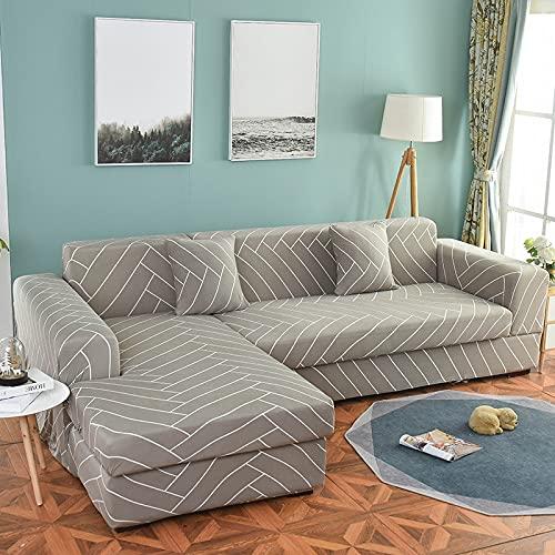 ASCV Funda de sofá elástica seccional elástica para Sala de Estar Funda de sofá en Forma de L Funda de sillón A1 4 plazas