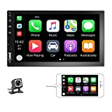 Podofo Double Din Car Stereo Car Radio with buletooth 7'' HD Touchscreen Car Multimedia Player Support FM/USB/AUX/D-Play iOS/Android Mirror Link with Rear View Camera