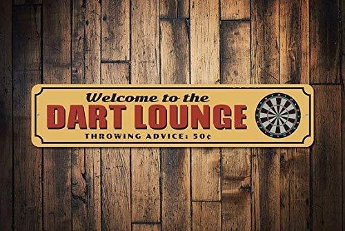 HSSS Dart Lounge Schild Game Room Schild Dartboard Schild Welcome Man Höhle Dekor Metall Dorm Schild Dart Lounge Decor Metallschild 10,2 x 45,7 cm