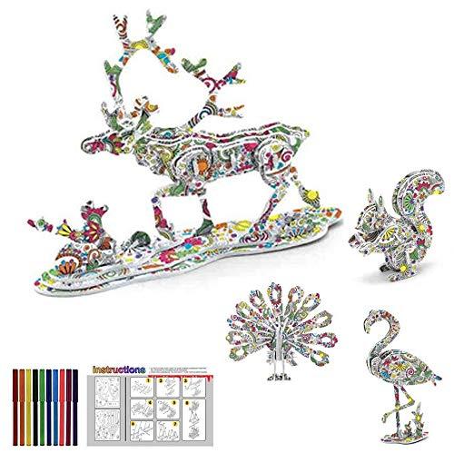 Juego de Rompecabezas de Colorear 3D, Kit de Puzzle 3D para Colorear de Arte y Manualidades DIY Juguetes de Pintura Educativa para Niños Regalo de Cumpleaños Navidad con 12 Rotuladores (Animal)