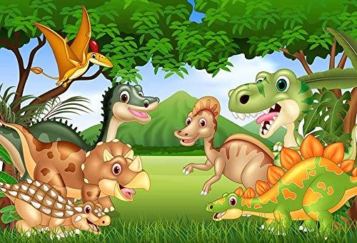 Fondo de fotografía Dinosaurio Jurásico Hojas Verdes Erupción volcánica Cumpleaños Baby Shower Photo Studio Telón de Fondo A11 7x5ft / 2.1x1.5m