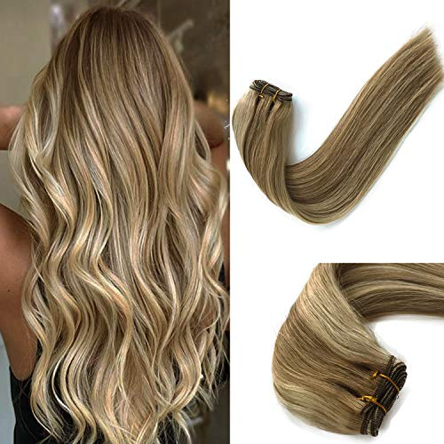120G Double Weft Sew in Hair Extensions Human Hair for White Women Natural Sew in Human HAIR Weave Bundles Balayage Beige Blonde with Platinum Blonde Highlights Silky Straight Hair Extensions 22""